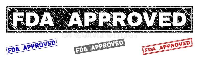 Grunge prostokąta znaczka FDA ZATWIERDZAĆ Drapać foki ilustracji