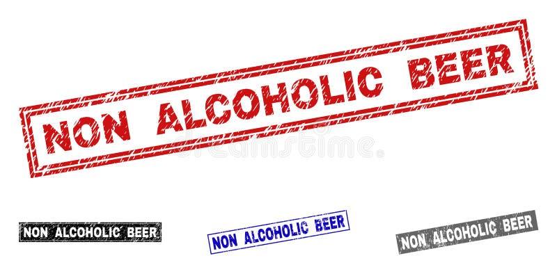 Grunge prostokąta znaczka NON ALKOHOLICZNE PIWNE Porysowane foki ilustracji