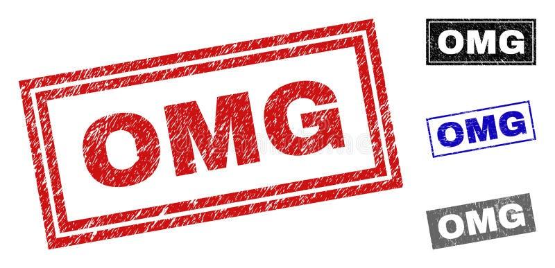 Grunge prostokąta znaczka OMG Textured foki ilustracji