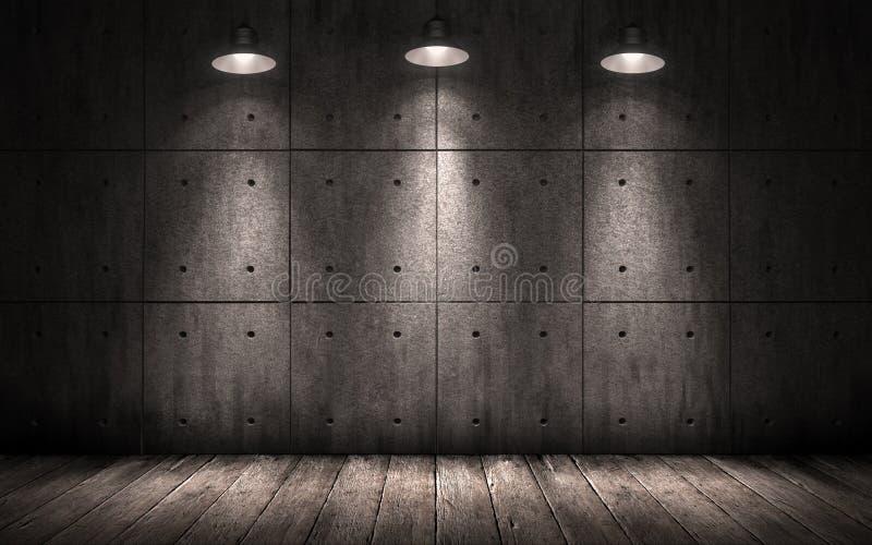 Grunge przemysłowy tło iluminować podsufitowe lampy obrazy stock
