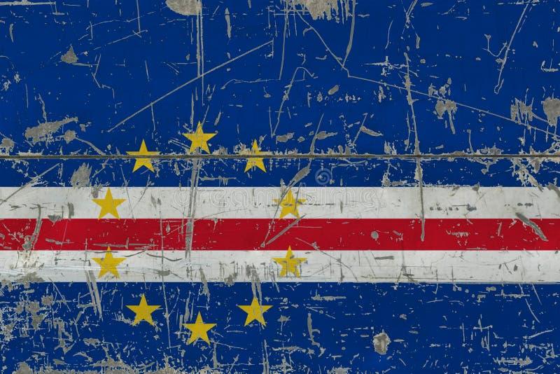 Grunge przylądka Verde flaga na starej porysowanej drewnianej powierzchni Krajowy rocznika tło zdjęcia stock