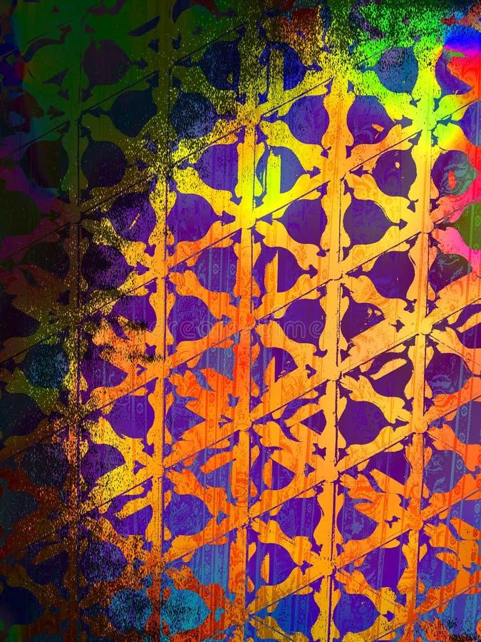 Grunge psychédélique avec le papier peint de fond de configuration d'arc-en-ciel illustration de vecteur
