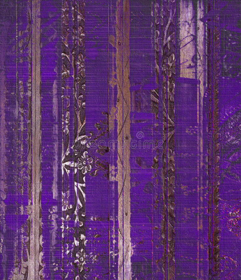 Free Grunge Purple Wood Scroll Print Stock Image - 15396621