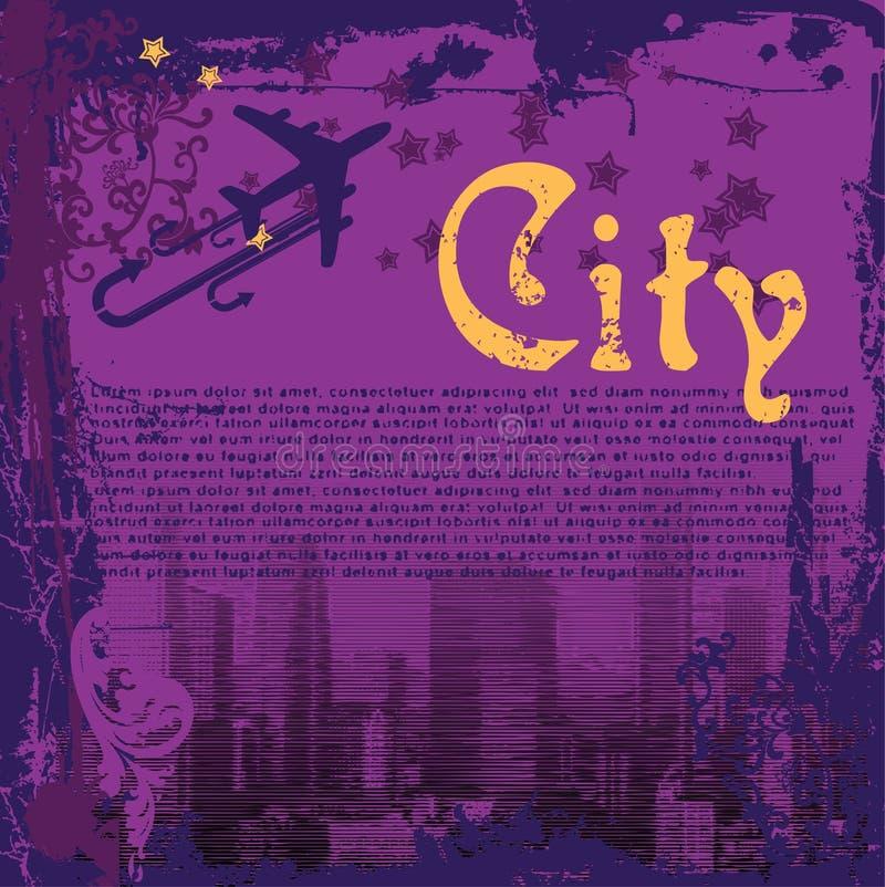 Grunge purpurrote Stadt Flayer stock abbildung