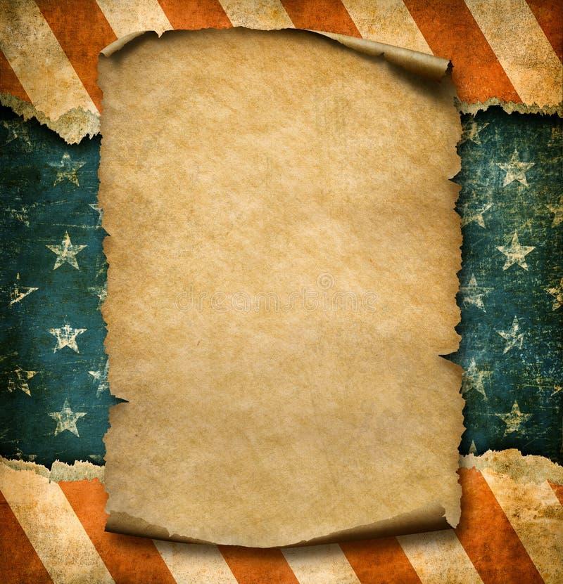 Grunge pusta papierowa deklaracja nad usa flaga dnia niepodległości szablonu 3d ilustracją ilustracji