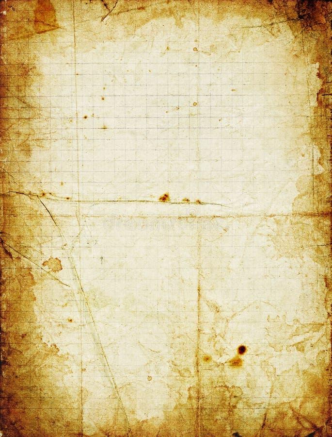 Grunge quadriertes Papier mit dunklem beflecktem Feld lizenzfreie stockfotos