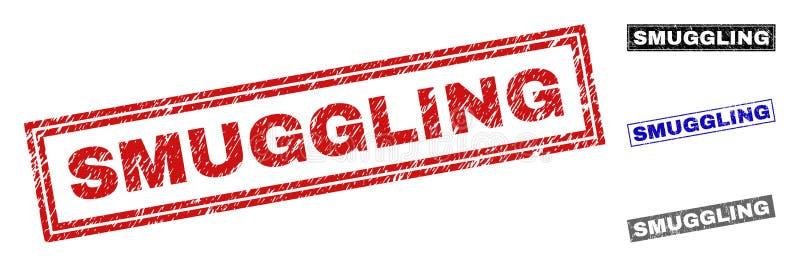 Grunge QUE PASA DE CONTRABANDO los sellos rasguñados del sello del rectángulo libre illustration