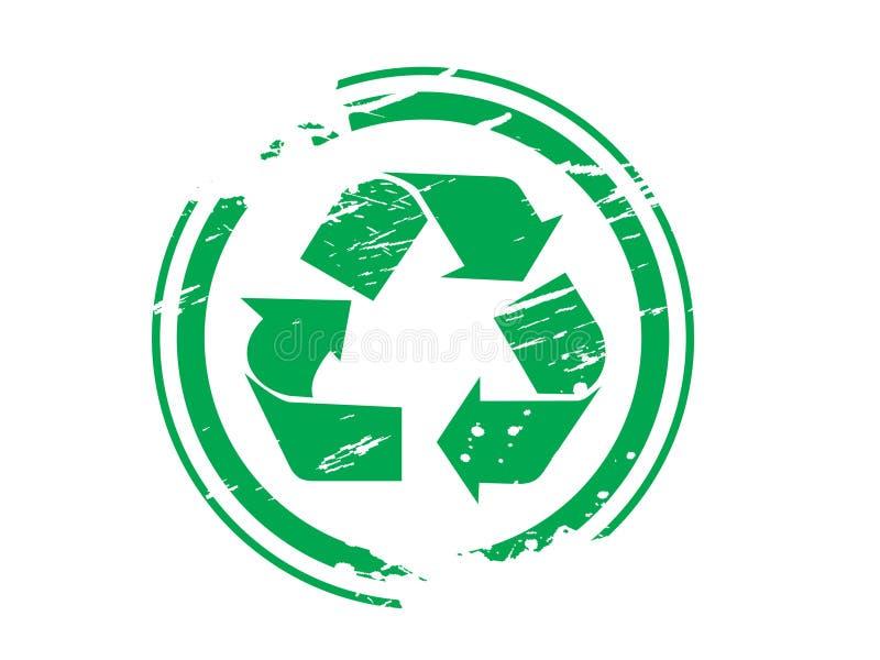 Grunge que recicl a borracha do símbolo ilustração stock
