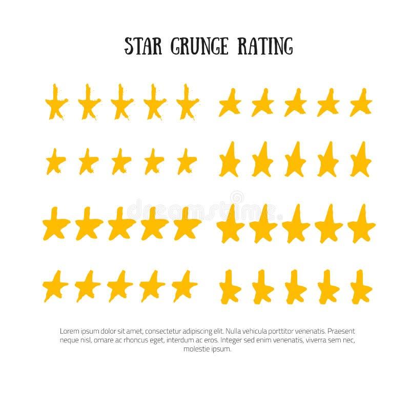 Grunge que valora el ejemplo determinado del vector del icono de cinco estrellas del grado Graduación aislada del éxito en la fil ilustración del vector
