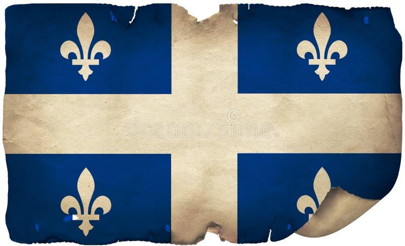 Quebec Flag On Old Paper. A grunge Quebec flag on old torn paper stock photo