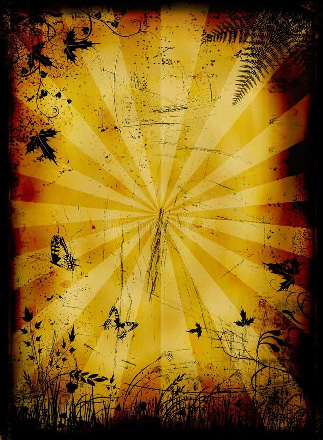 Grunge queimou o fundo floral com borboletas ilustração stock