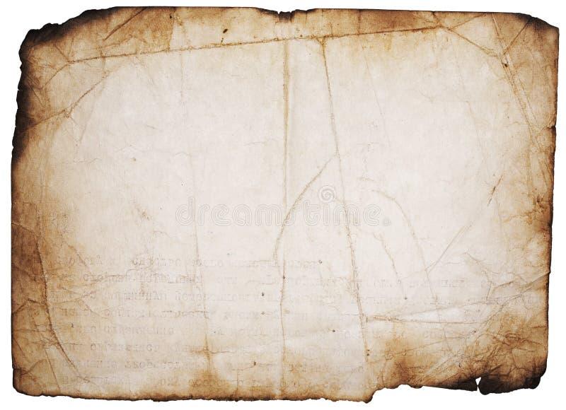 Grunge queimou a página no branco fotografia de stock royalty free
