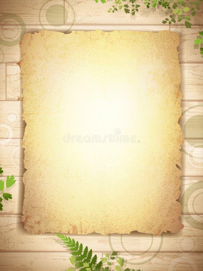 Grunge quemó el papel en el fondo de madera libre illustration