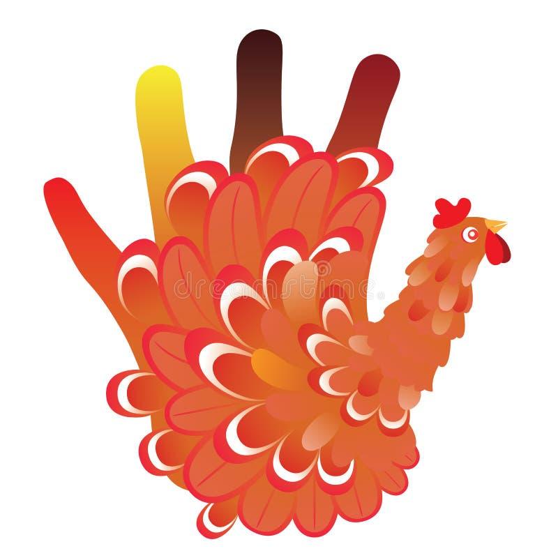 Grunge ręki kurczak ilustracji