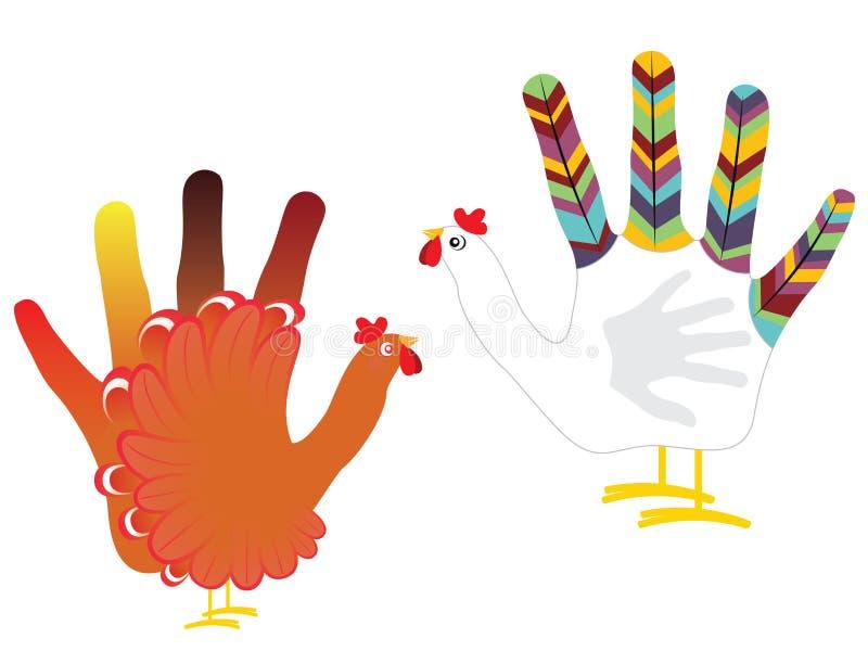 Grunge ręki kurczak ilustracja wektor