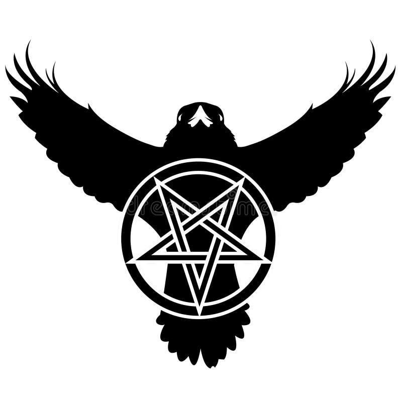Grunge Rabe mit Pentagram lizenzfreie abbildung