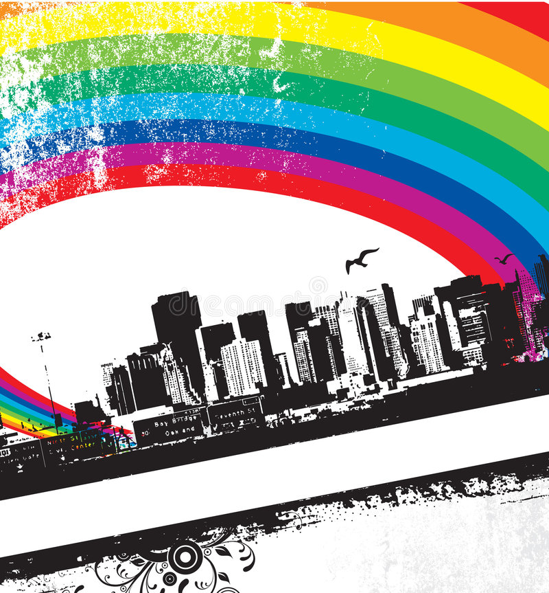 Grunge Rainbow City stock image