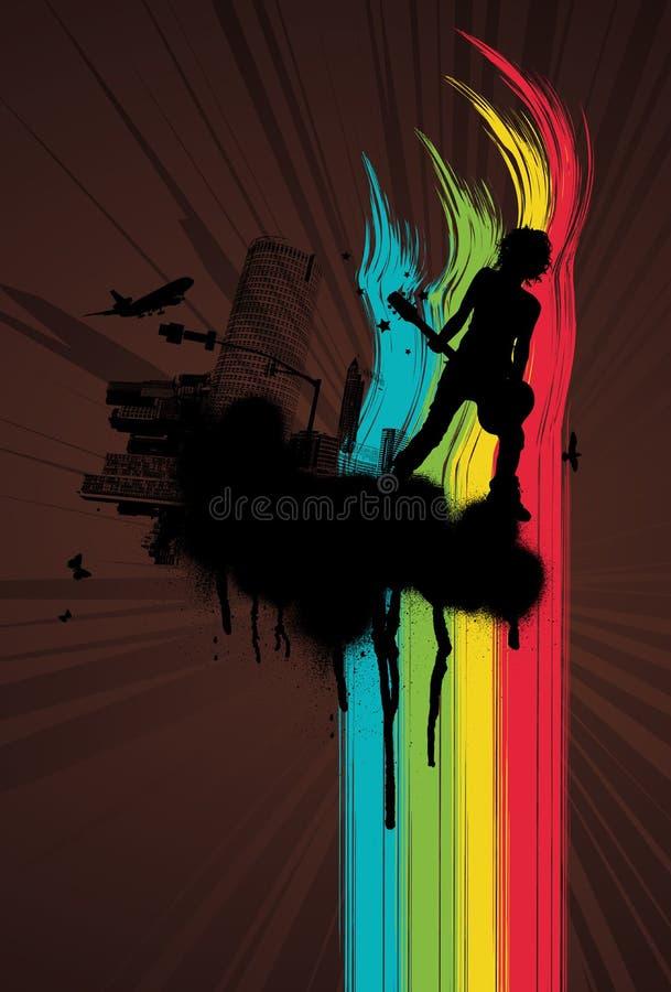 Free Grunge Rainbow City Guitar Royalty Free Stock Images - 5779289