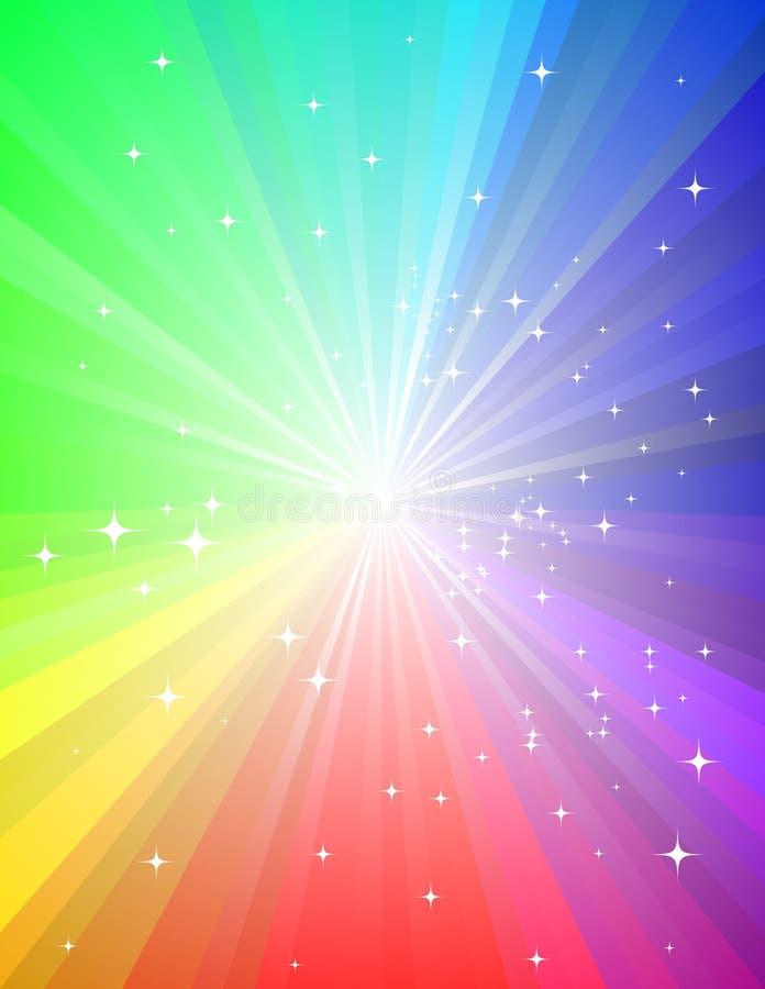 Grunge Rainbow Sunburst. Rainbow sunburst with many small stars vector illustration