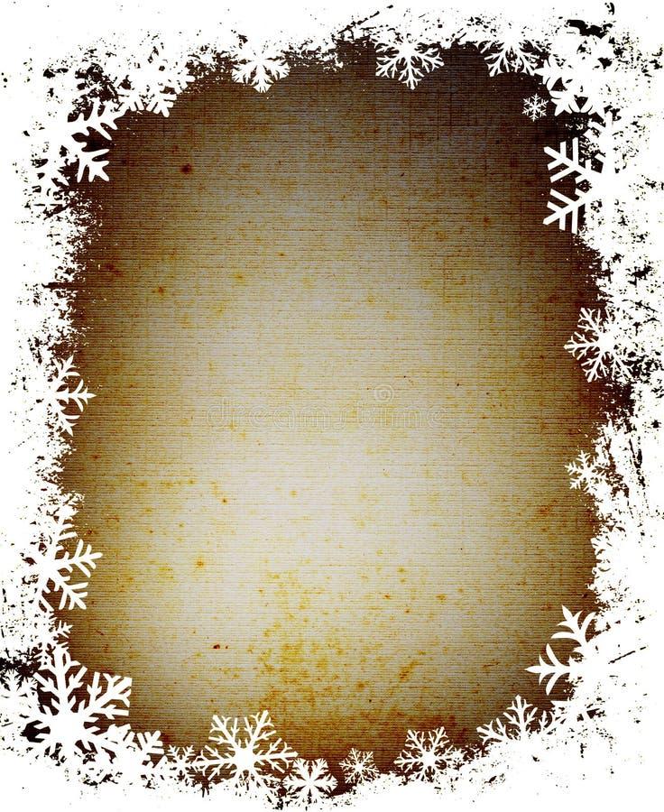 grunge ramowi płatki śniegu ilustracja wektor