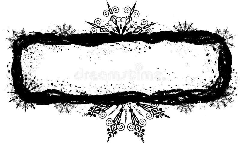grunge ramowi płatki śniegu położenie ilustracja wektor