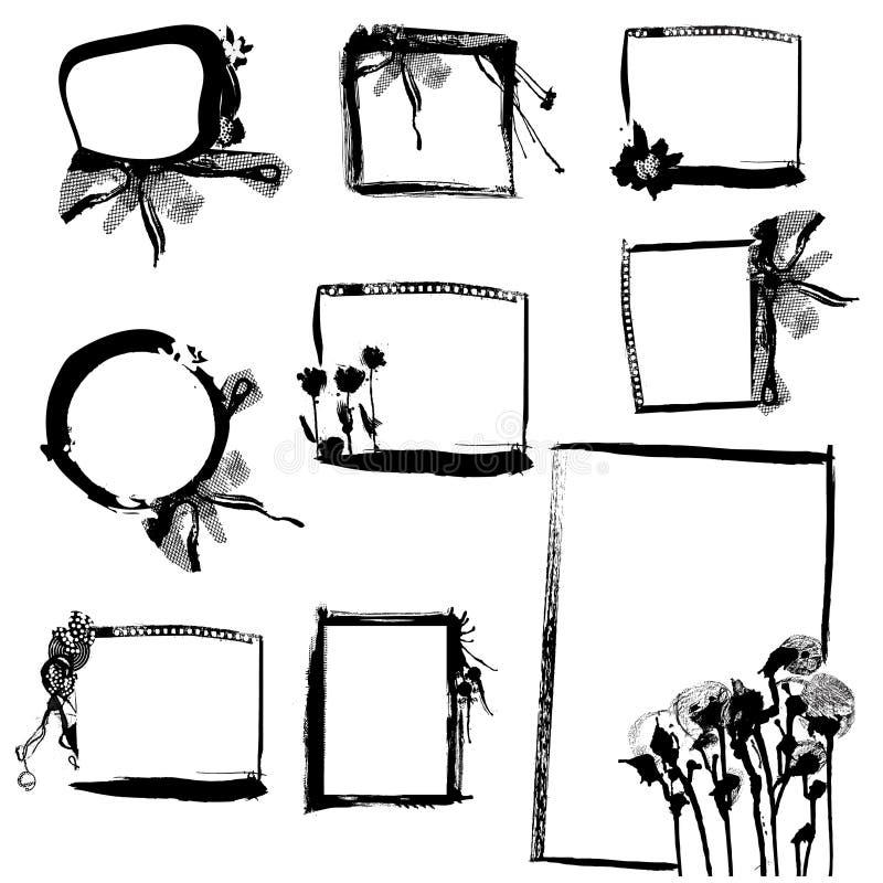 grunge ramowy set royalty ilustracja