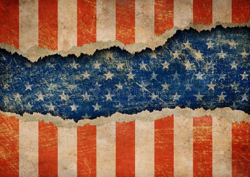 Grunge rasgou o teste padrão de papel da bandeira dos EUA ilustração do vetor