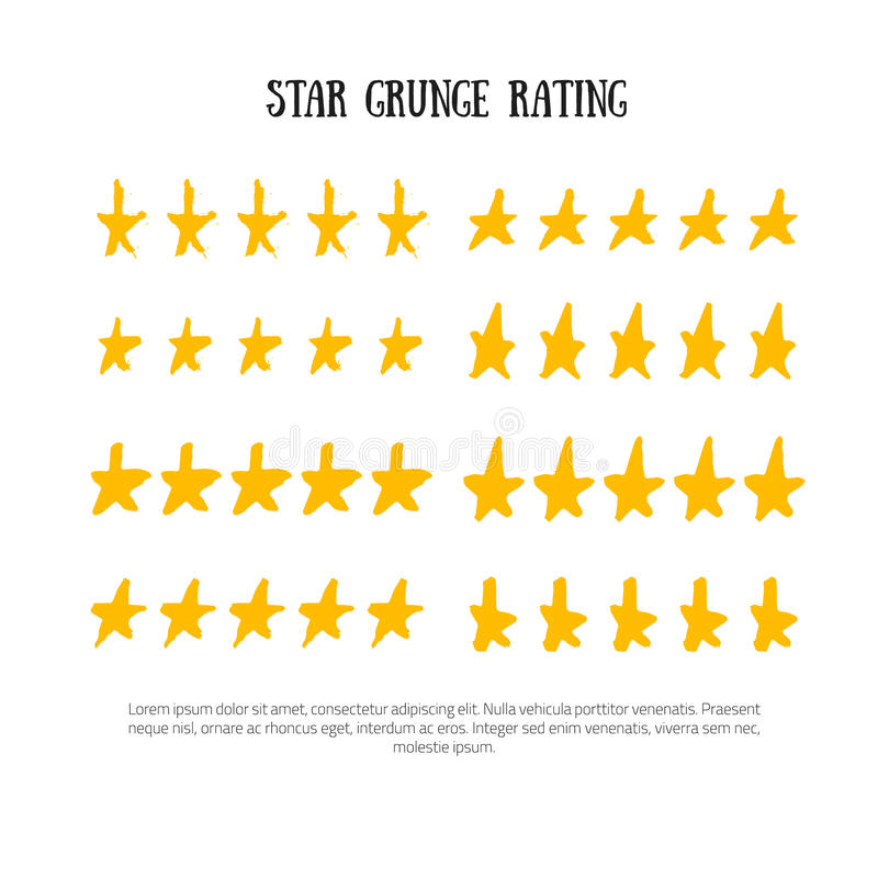 Grunge rating 5 star rating icon set vector illustration. Isolated success ranking in row for website or app hand drawn vector illustration