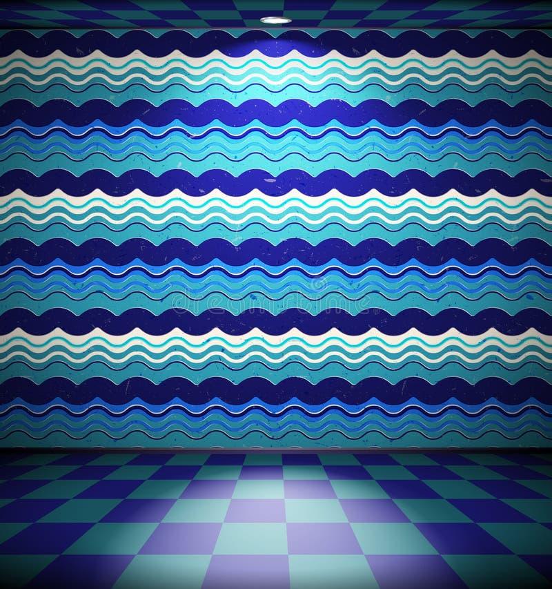 Grunge Raum mit Wellen stock abbildung