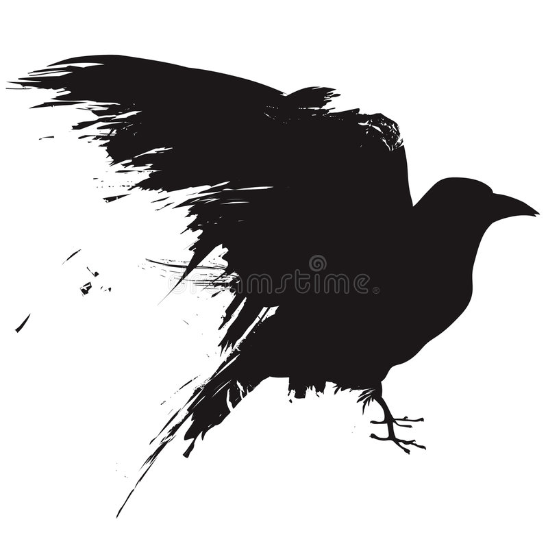 Grunge raven. Vector illustration of the silhouette of a raven in grunge style