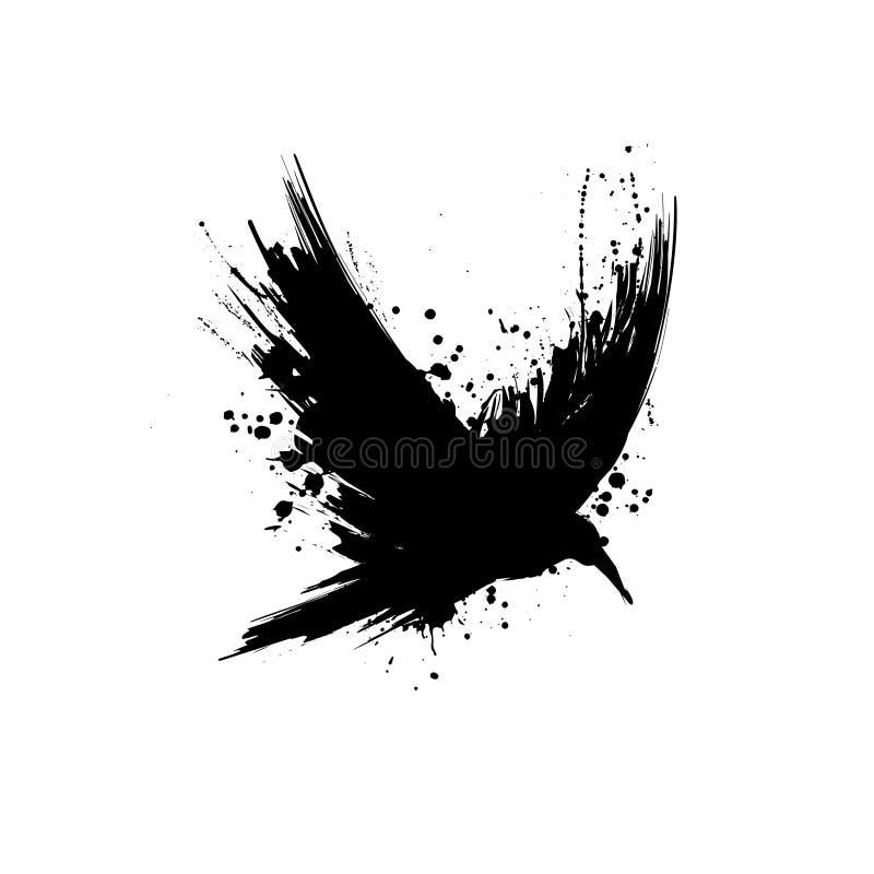 Grunge raven silhouette vector illustration