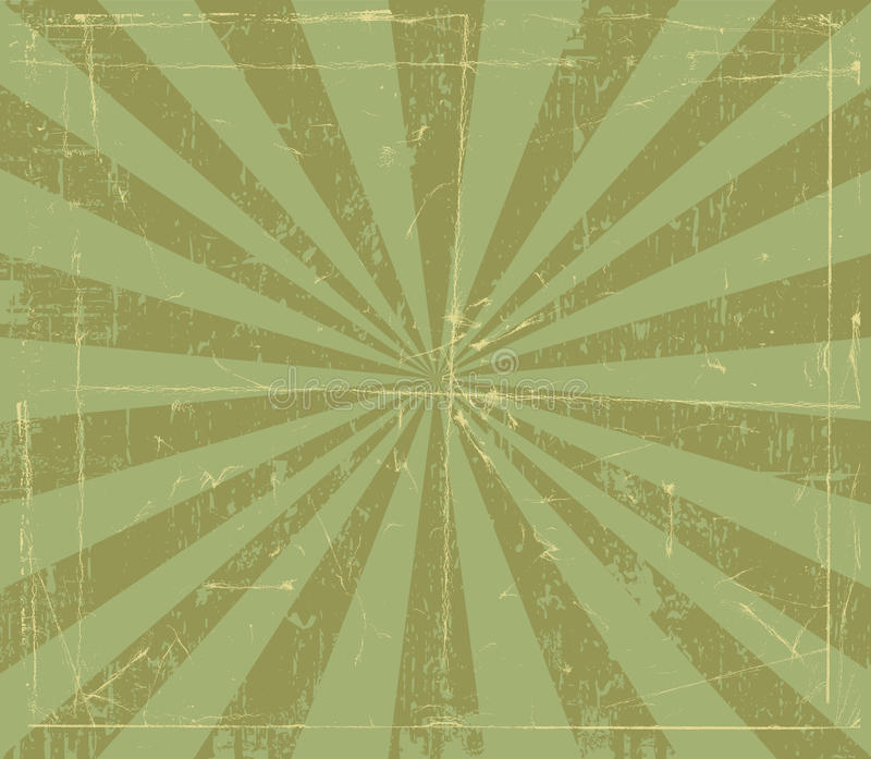 Grunge Ray Design. Grungy paper with retro rays stock illustration