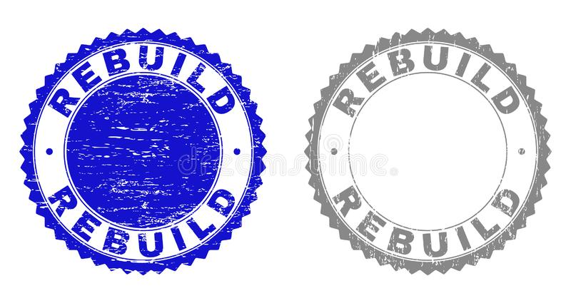 Grunge REBUILD Scratched Stamps stock illustration