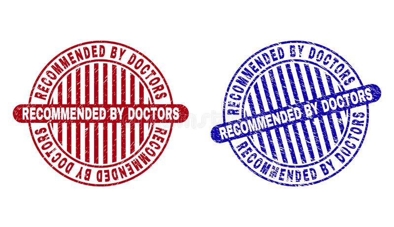 Grunge RECOMMANDÉ PAR des MÉDECINS a donné aux timbres une consistance rugueuse ronds illustration de vecteur