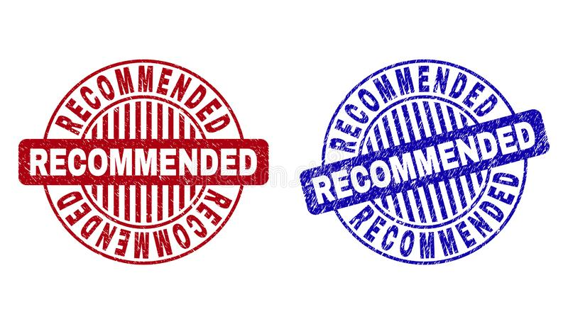Grunge RECOMMENDED Textured Round Stamp Seals. Grunge RECOMMENDED round stamp seals isolated on a white background. Round seals with grunge texture in red and vector illustration