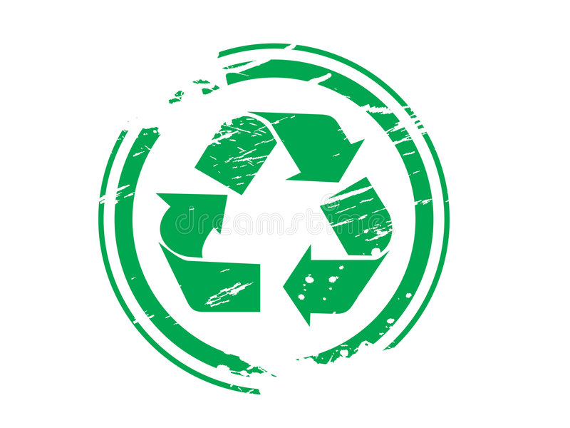 Grunge recycling symbol rubber stock illustration