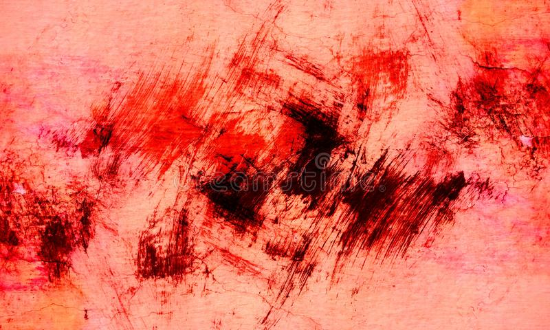 Grunge red, black, orange and white brush stroke wall texture of concrete floor background for creation abstract. royalty free stock photo