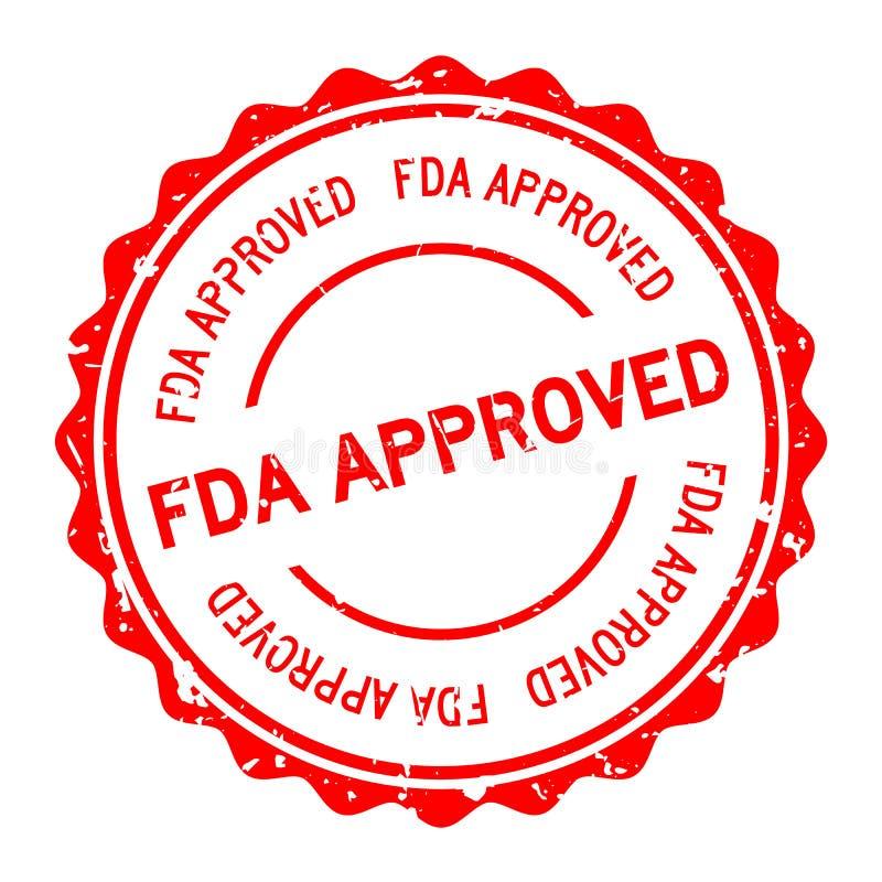 Grunge red FDA approuvé mot entier tampon sur fond blanc illustration stock