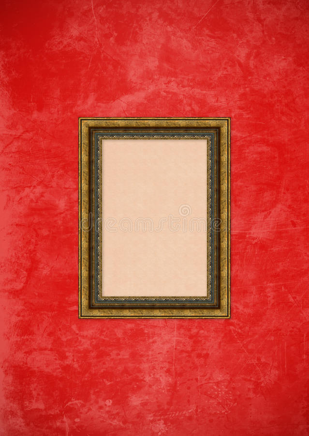 Download Grunge Red Stucco Wall With Empty Picture Frame Royalty Free Stock Photo - Image: 10183615