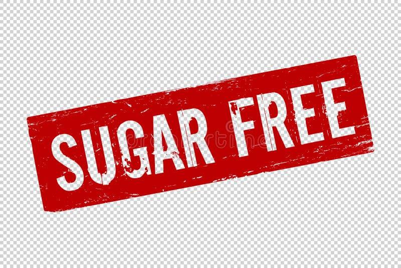 Grunge red Sugar Free square rubber royalty free illustration
