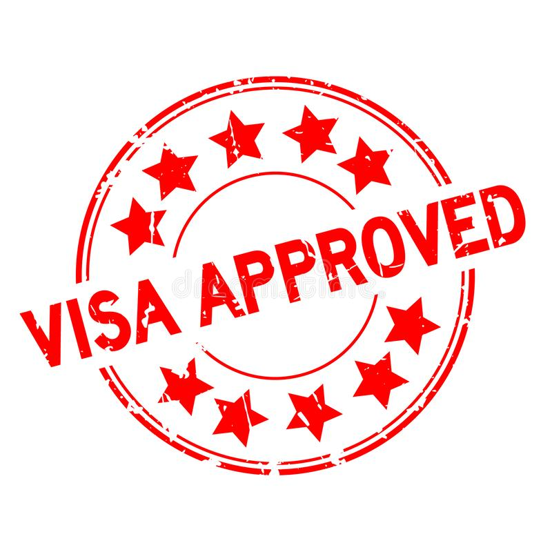 Grunge red visa approved with star icon round rubber stamp on white background. Grunge red visa approved with star icon round rubber seal stamp on white vector illustration