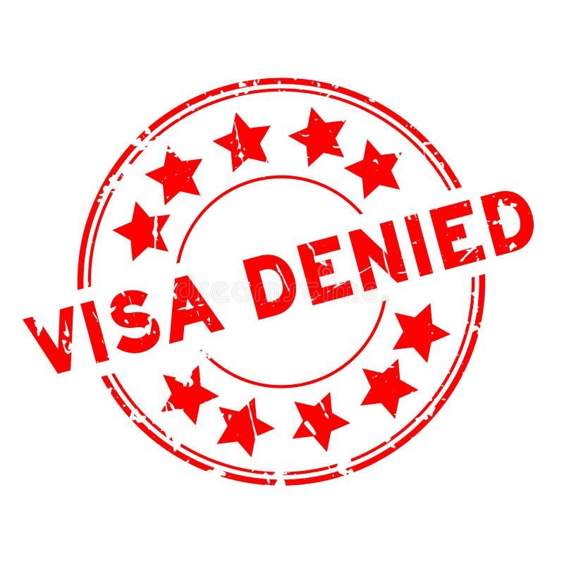 Grunge red visa denied with star icon round rubber stamp on white background. Grunge red visa denied with star icon round rubber seal stamp on white background stock illustration