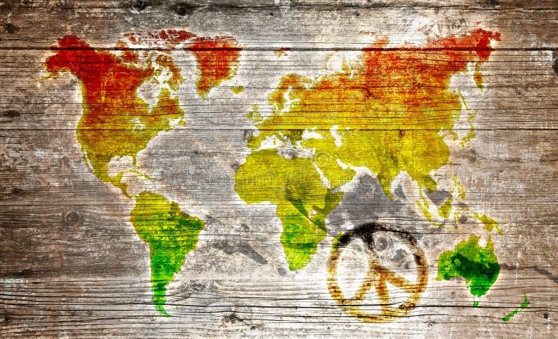Grunge reggae światowa mapa obrazy royalty free