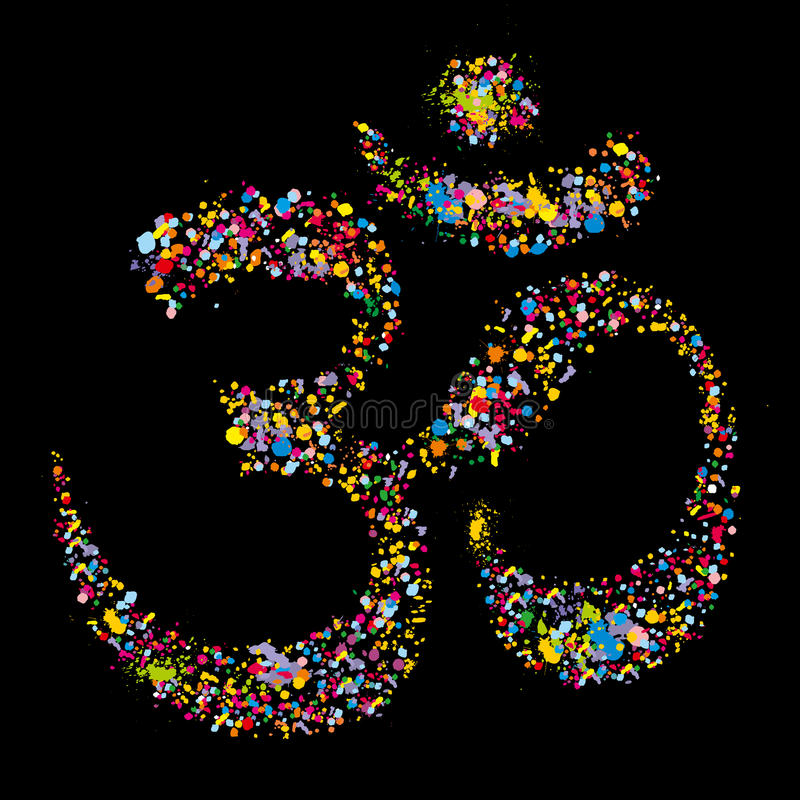 Grunge religious hindu symbol Om, vector royalty free illustration