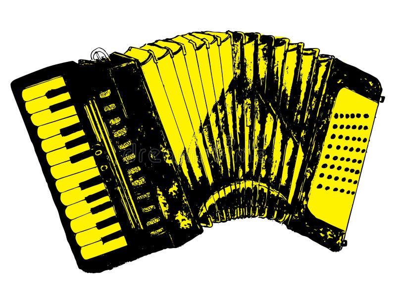 Grunge Retro Accordion. Illustration of an accordion vintage music instrument, grunge background stock illustration