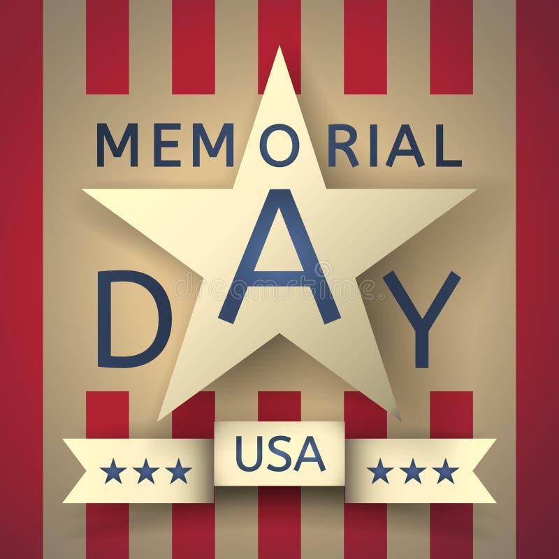 Grunge retro achtergrond van de herdenkingsdag met het embleem stock illustratie