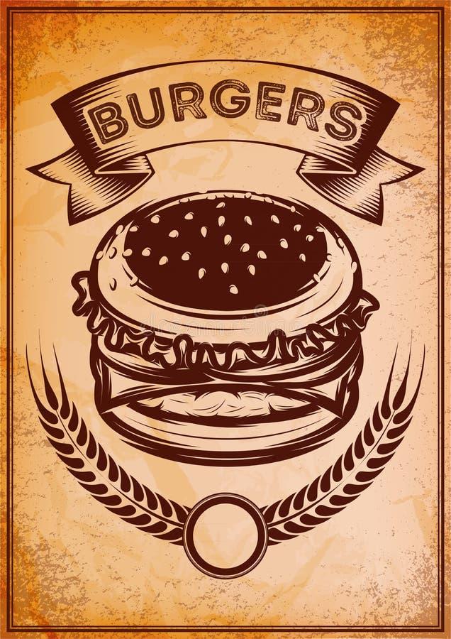 Grunge retro affiche met hamburger voor snel voedsel stock illustratie