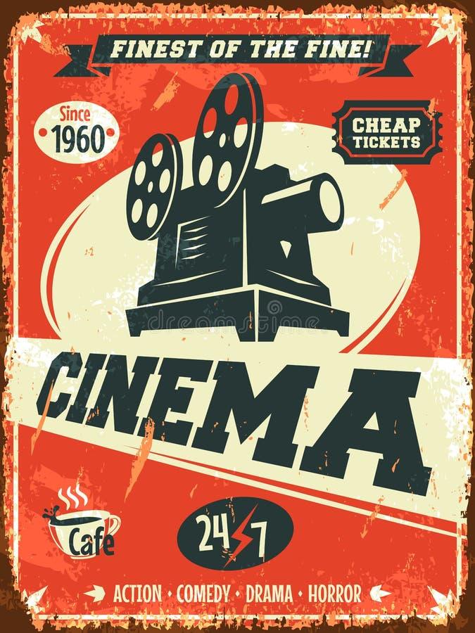 Grunge retro cinema poster. Vector illustration stock illustration