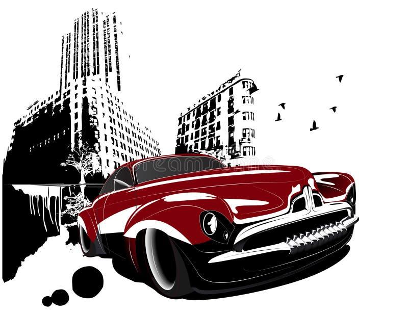 Grunge retro classic car building city royalty free illustration