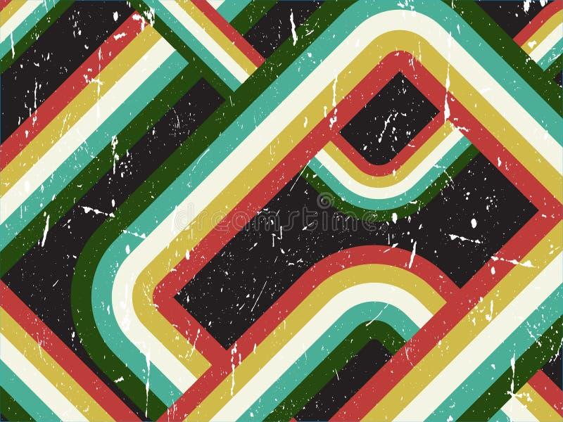 Grunge Retro- gestreifter Hintergrund stock abbildung